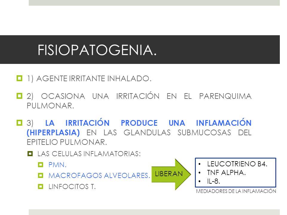 FISIOPATOGENIA. 1) AGENTE IRRITANTE INHALADO. 2) OCASIONA UNA IRRITACIÓN EN EL PARENQUIMA PULMONAR. 3) LA IRRITACIÓN PRODUCE UNA INFLAMACIÓN (HIPERPLA