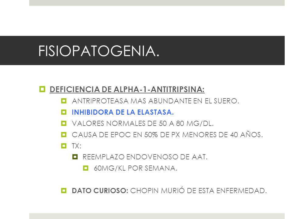 FISIOPATOGENIA. DEFICIENCIA DE ALPHA-1-ANTITRIPSINA: ANTRIPROTEASA MAS ABUNDANTE EN EL SUERO. INHIBIDORA DE LA ELASTASA. VALORES NORMALES DE 50 A 80 M