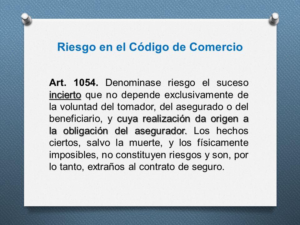 Riesgo en el Código de Comercio incierto cuya realización da origen a la obligación del asegurador. Art. 1054. Denominase riesgo el suceso incierto qu