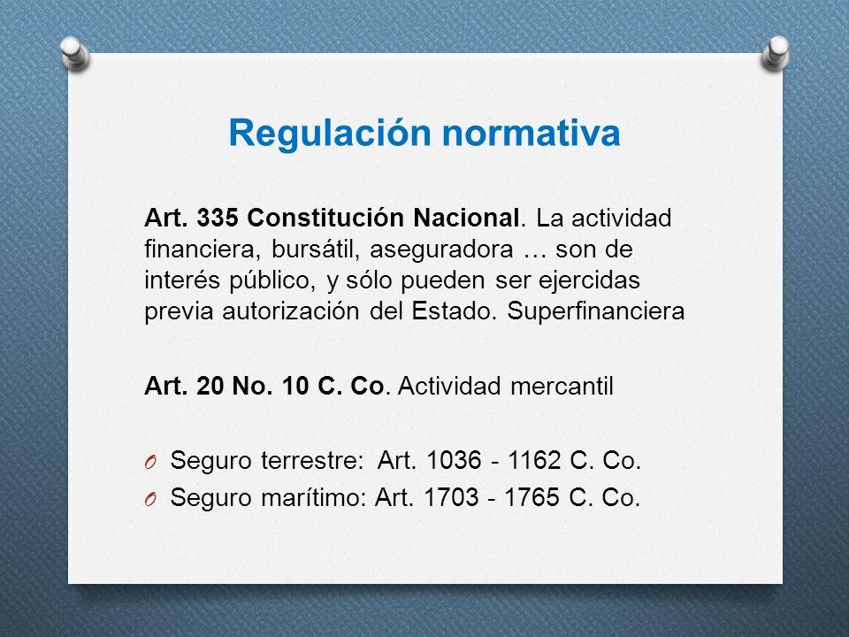 Regulación normativa Art. 335 Constitución Nacional. La actividad financiera, bursátil, aseguradora … son de interés público, y sólo pueden ser ejerci
