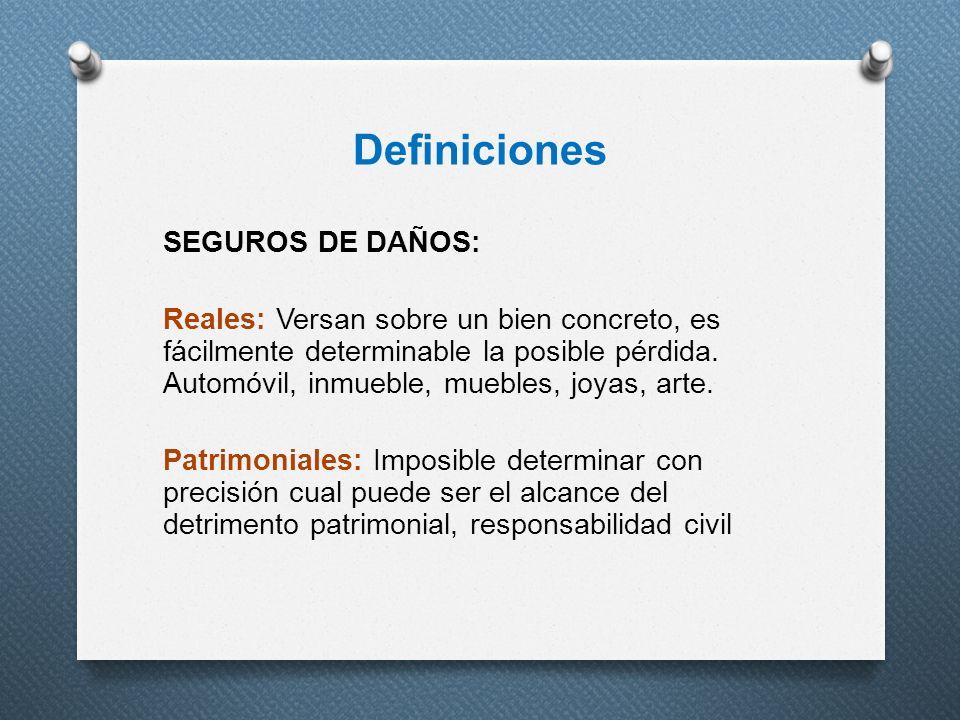 Definiciones SEGUROS DE DAÑOS: Reales: Versan sobre un bien concreto, es fácilmente determinable la posible pérdida. Automóvil, inmueble, muebles, joy