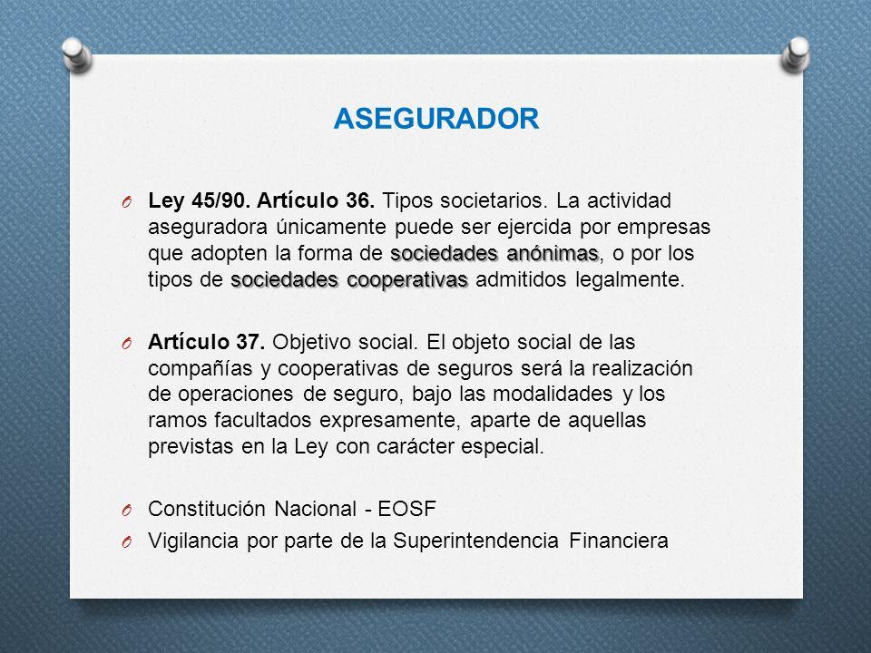ASEGURADOR sociedades anónimas sociedades cooperativas O Ley 45/90. Artículo 36. Tipos societarios. La actividad aseguradora únicamente puede ser ejer