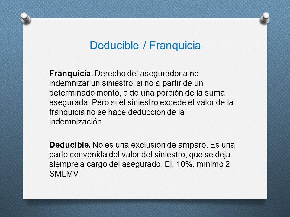 Deducible / Franquicia Franquicia. Derecho del asegurador a no indemnizar un siniestro, si no a partir de un determinado monto, o de una porción de la