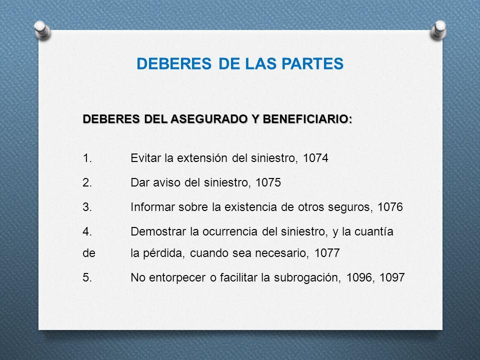 DEBERES DE LAS PARTES DEBERES DEL ASEGURADO Y BENEFICIARIO: 1.Evitar la extensión del siniestro, 1074 2.Dar aviso del siniestro, 1075 3.Informar sobre