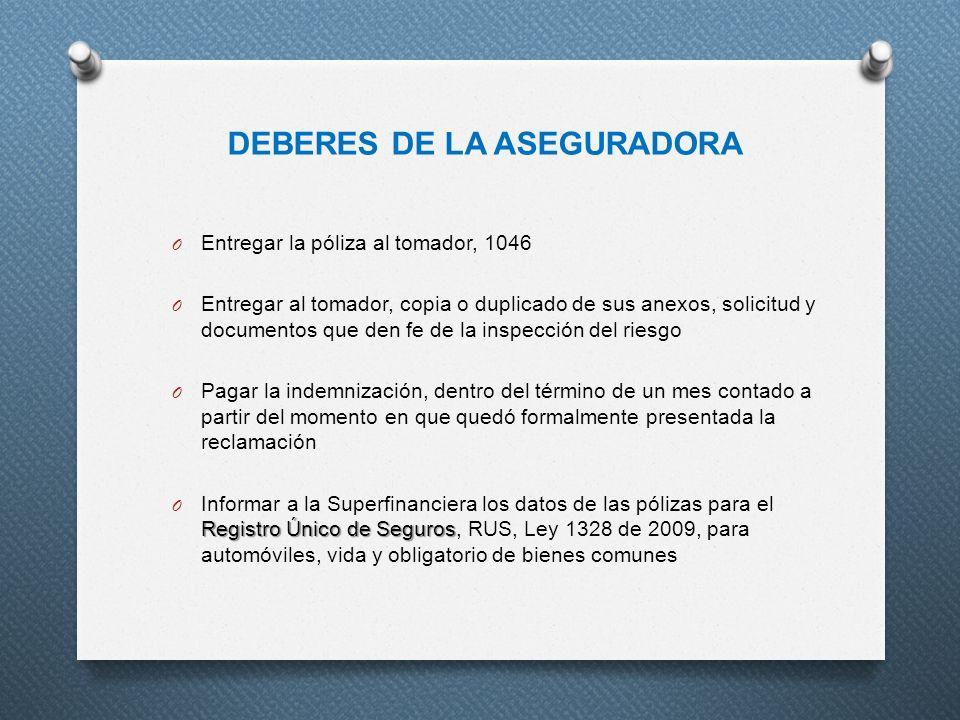 DEBERES DE LA ASEGURADORA O Entregar la póliza al tomador, 1046 O Entregar al tomador, copia o duplicado de sus anexos, solicitud y documentos que den
