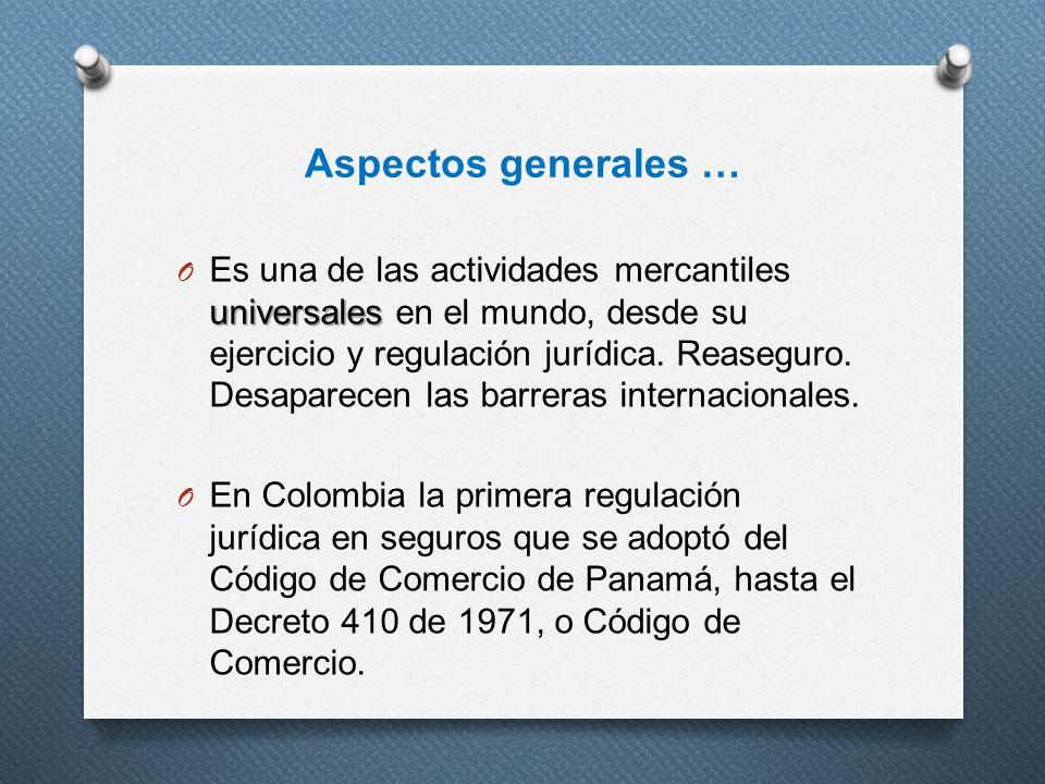 Aspectos generales … universales O Es una de las actividades mercantiles universales en el mundo, desde su ejercicio y regulación jurídica. Reaseguro.
