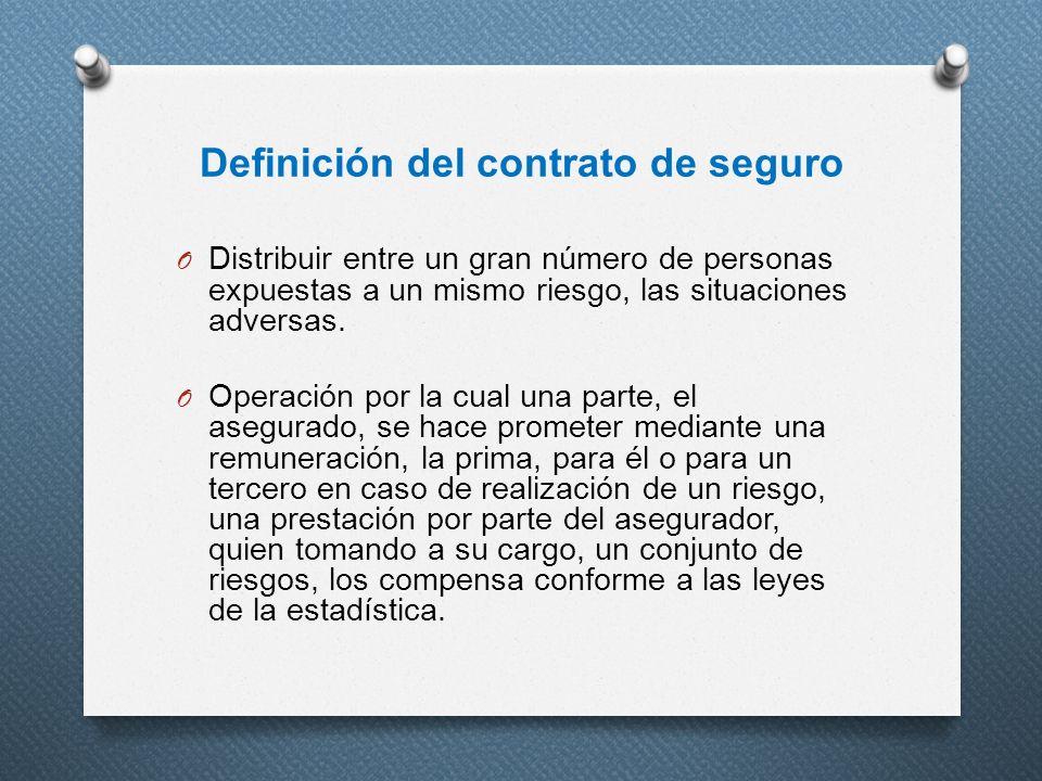 Definición del contrato de seguro O Distribuir entre un gran número de personas expuestas a un mismo riesgo, las situaciones adversas. O Operación por