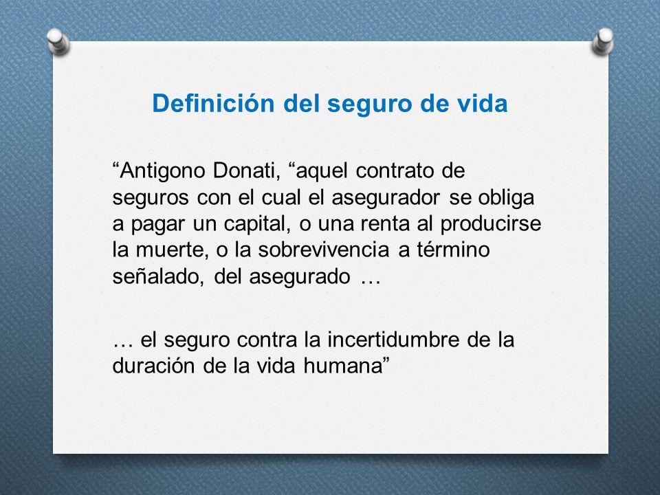 Definición del seguro de vida Antigono Donati, aquel contrato de seguros con el cual el asegurador se obliga a pagar un capital, o una renta al produc