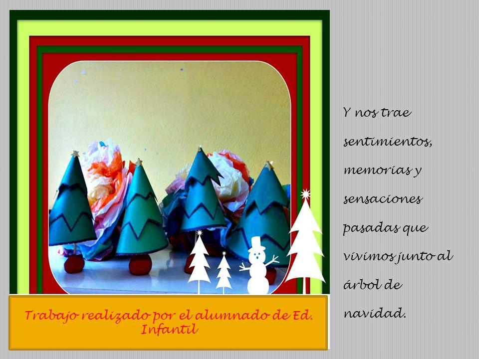 Trabajo realizado por el alumnado de Ed. Infantil Y nos trae sentimientos, memorias y sensaciones pasadas que vivimos junto al árbol de navidad.