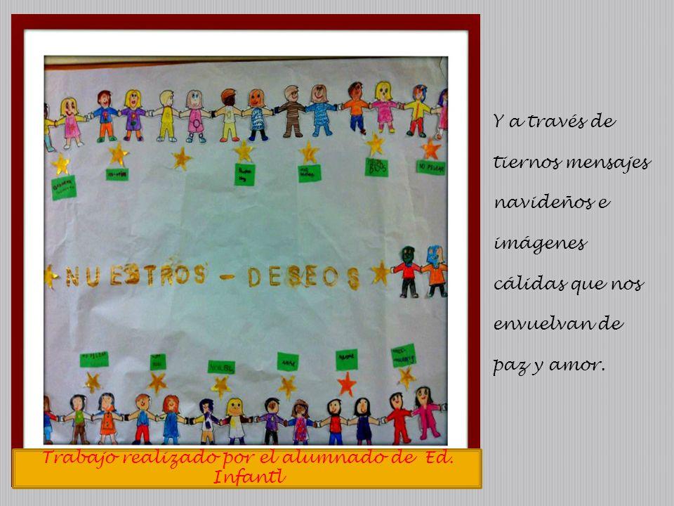 Trabajo realizado por el alumnado de Ed. Infantl Y a través de tiernos mensajes navideños e imágenes cálidas que nos envuelvan de paz y amor.