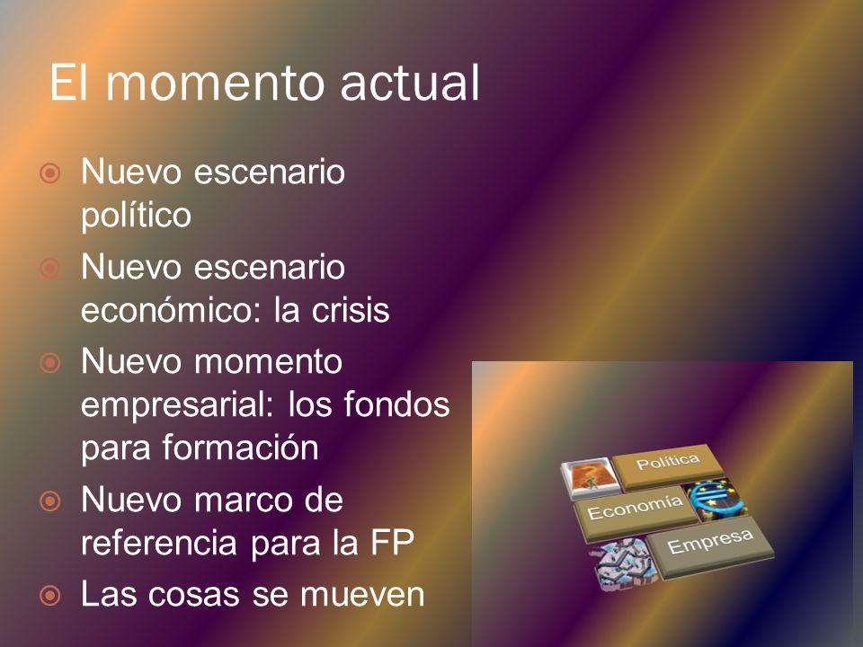 El momento actual Nuevo escenario político Nuevo escenario económico: la crisis Nuevo momento empresarial: los fondos para formación Nuevo marco de referencia para la FP Las cosas se mueven