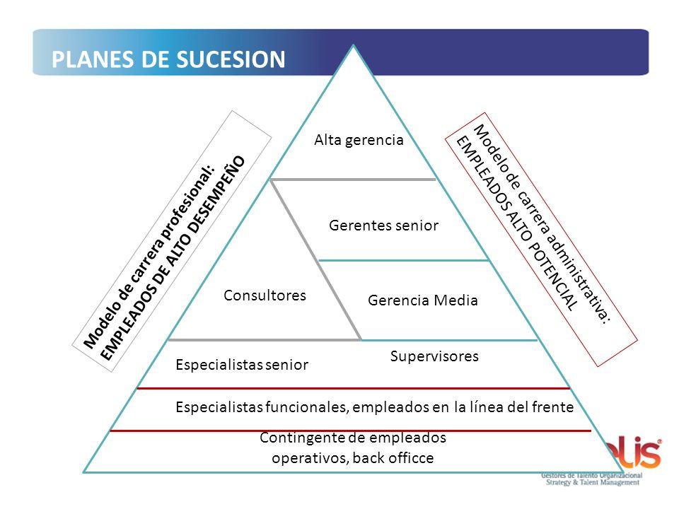 Supervisores Contingente de empleados operativos, back officce Especialistas funcionales, empleados en la línea del frente Especialistas senior Gerenc