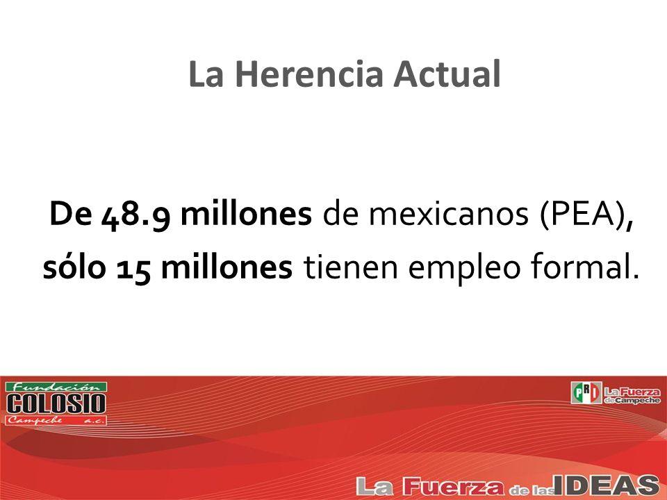 De 48.9 millones de mexicanos (PEA), sólo 15 millones tienen empleo formal. La Herencia Actual