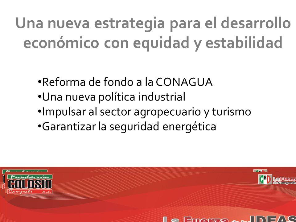 Una nueva estrategia para el desarrollo económico con equidad y estabilidad Reforma de fondo a la CONAGUA Una nueva política industrial Impulsar al sector agropecuario y turismo Garantizar la seguridad energética