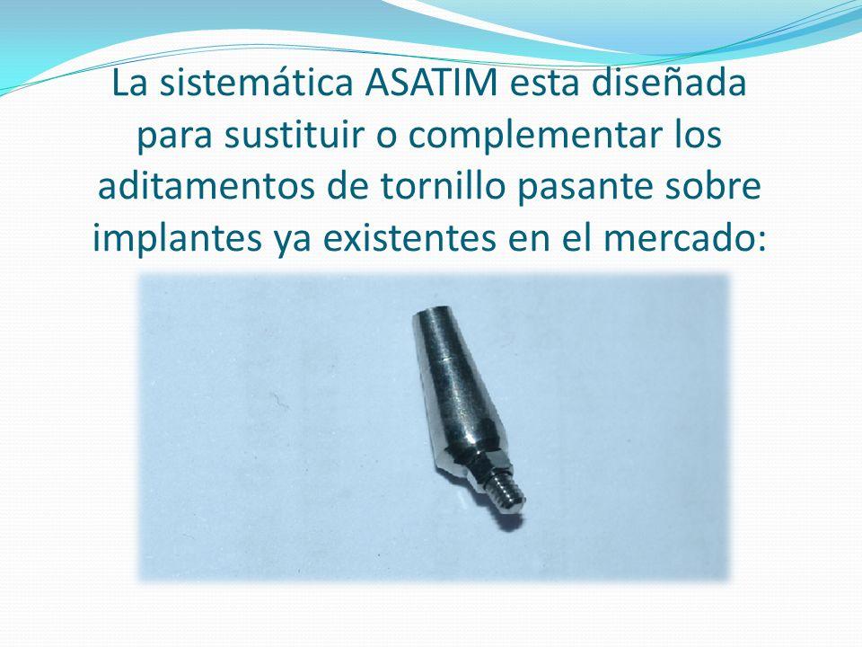 La sistemática ASATIM esta diseñada para sustituir o complementar los aditamentos de tornillo pasante sobre implantes ya existentes en el mercado:
