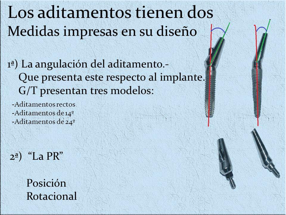 Los aditamentos tienen dos Medidas impresas en su diseño 1ª) La angulación del aditamento.- Que presenta este respecto al implante. G/T presentan tres