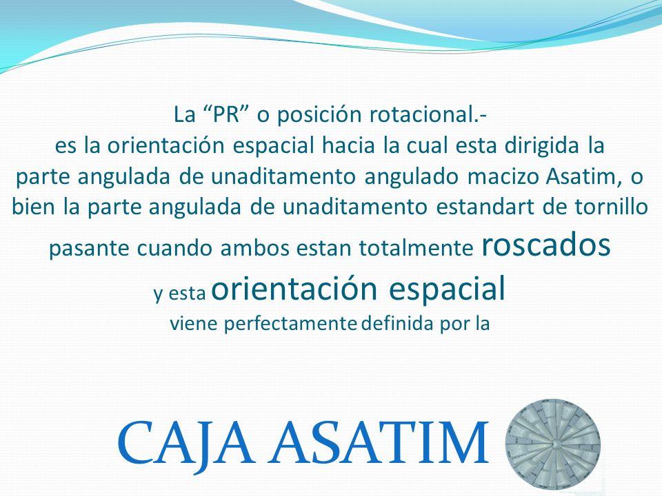 La PR o posición rotacional.- es la orientación espacial hacia la cual esta dirigida la parte angulada de unaditamento angulado macizo Asatim, o bien