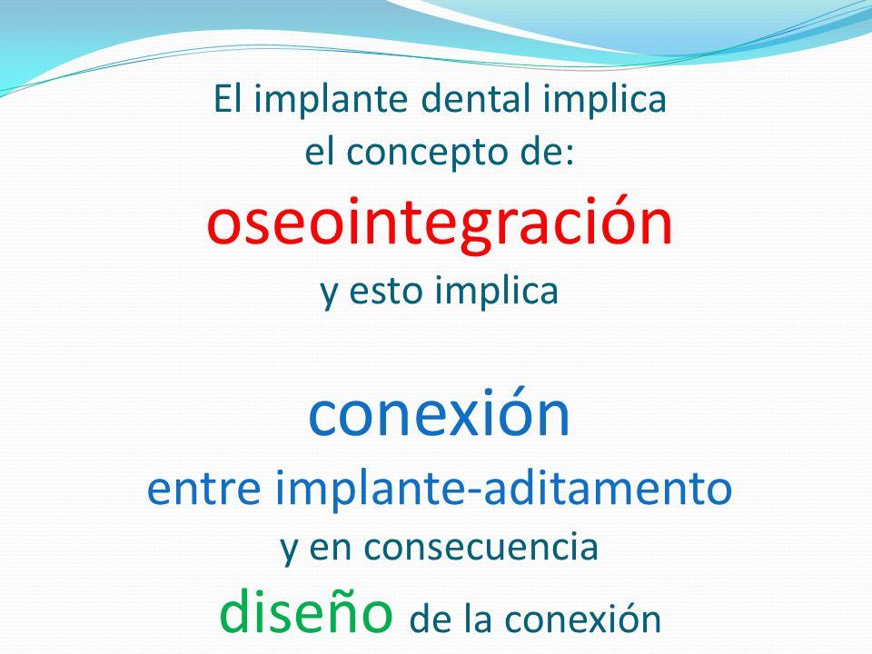 El implante dental implica el concepto de: oseointegración y esto implica conexión entre implante-aditamento y en consecuencia diseño de la conexión