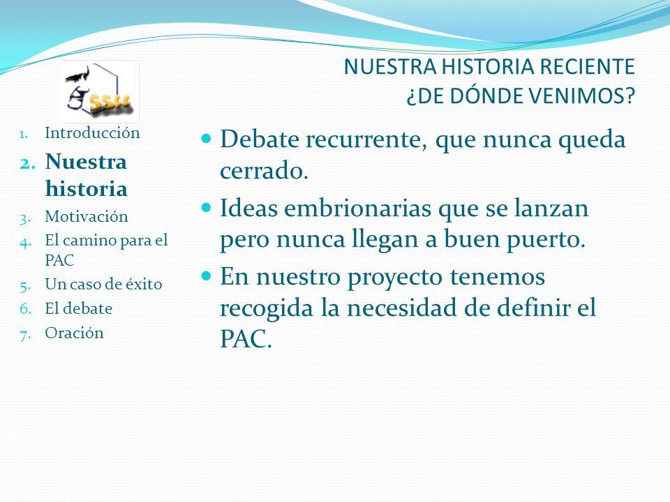 NUESTRA HISTORIA RECIENTE ¿DE DÓNDE VENIMOS. 1. Introducción 2.