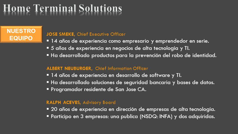 JOSE SMEKE, Chief Executive Officer 14 años de experiencia como empresario y emprendedor en serie.