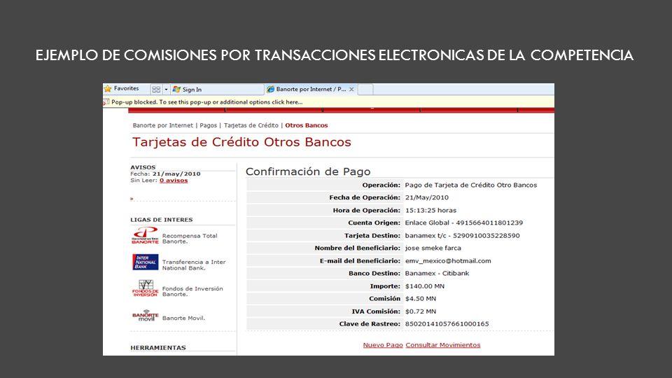 EJEMPLO DE COMISIONES POR TRANSACCIONES ELECTRONICAS DE LA COMPETENCIA