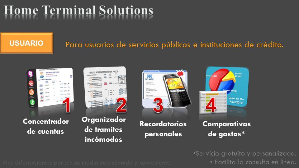 Para usuarios de servicios públicos e instituciones de crédito.