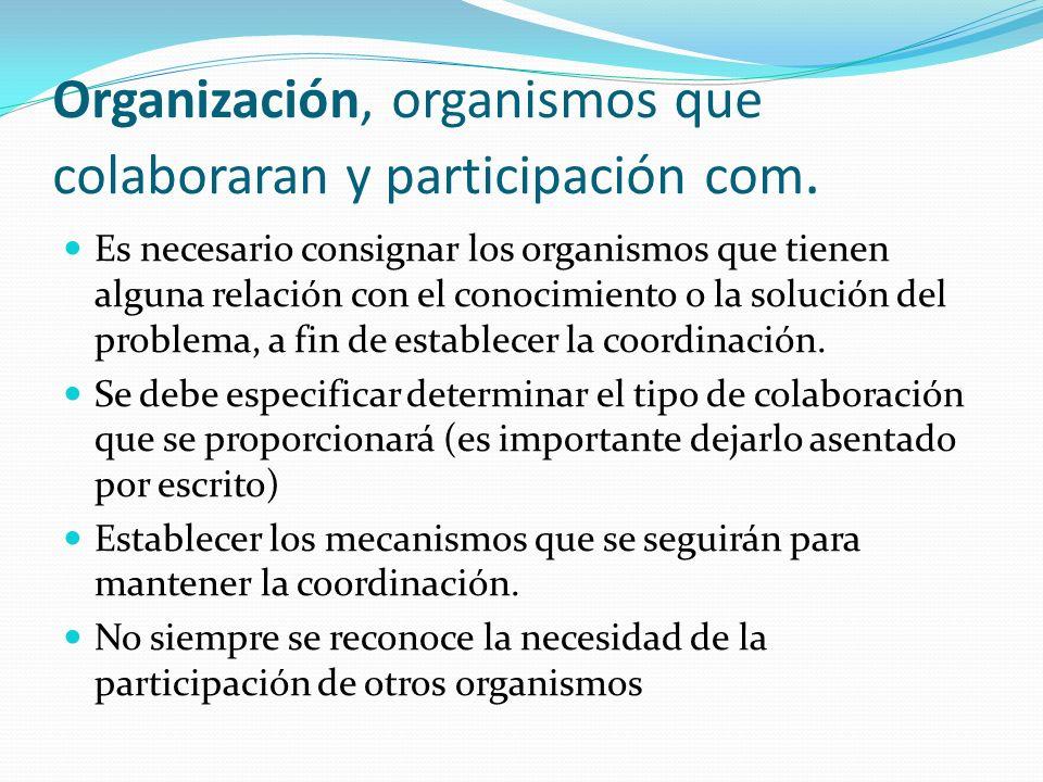 Organización, organismos que colaboraran y participación com. Es necesario consignar los organismos que tienen alguna relación con el conocimiento o l
