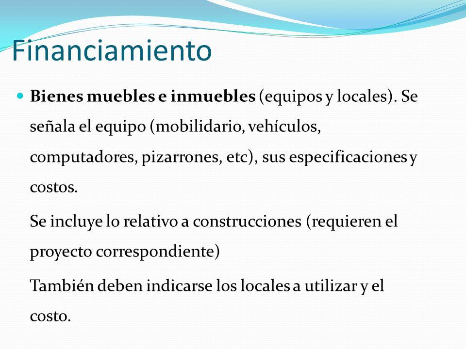 Financiamiento Bienes muebles e inmuebles (equipos y locales).