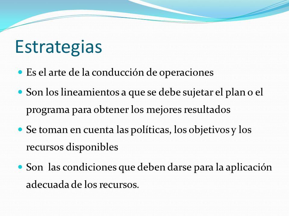 Estrategias Es el arte de la conducción de operaciones Son los lineamientos a que se debe sujetar el plan o el programa para obtener los mejores resultados Se toman en cuenta las políticas, los objetivos y los recursos disponibles Son las condiciones que deben darse para la aplicación adecuada de los recursos.