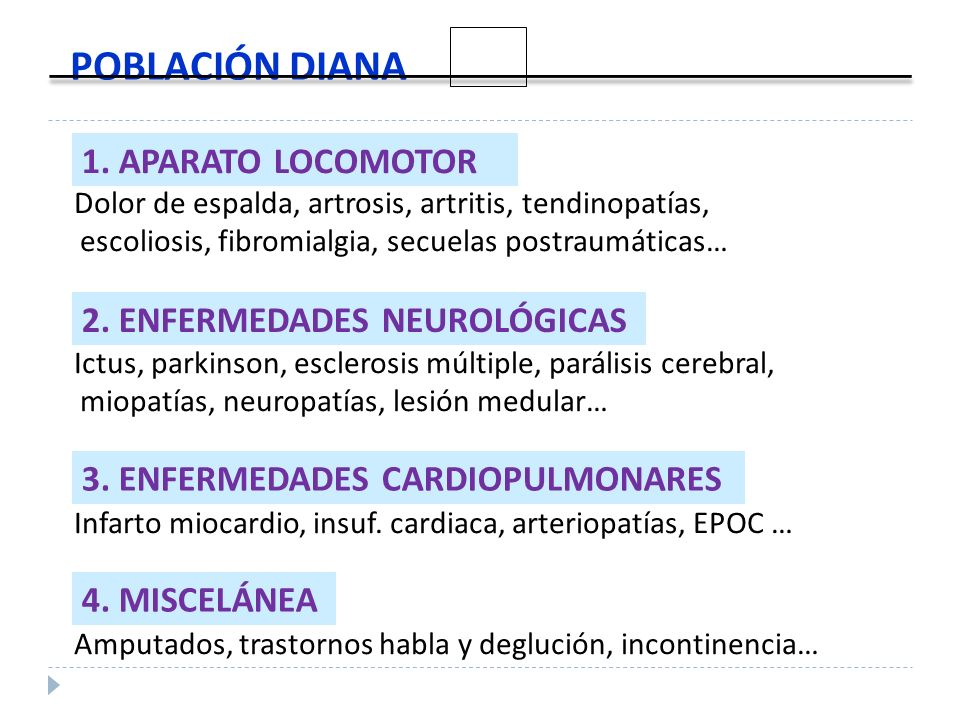 1. APARATO LOCOMOTOR Dolor de espalda, artrosis, artritis, tendinopatías, escoliosis, fibromialgia, secuelas postraumáticas… 2. ENFERMEDADES NEUROLÓGI