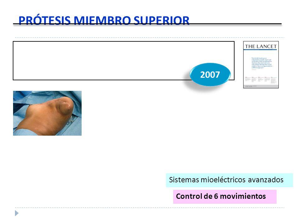 PRÓTESIS MIEMBRO SUPERIOR 2007 Control de 6 movimientos Sistemas mioeléctricos avanzados