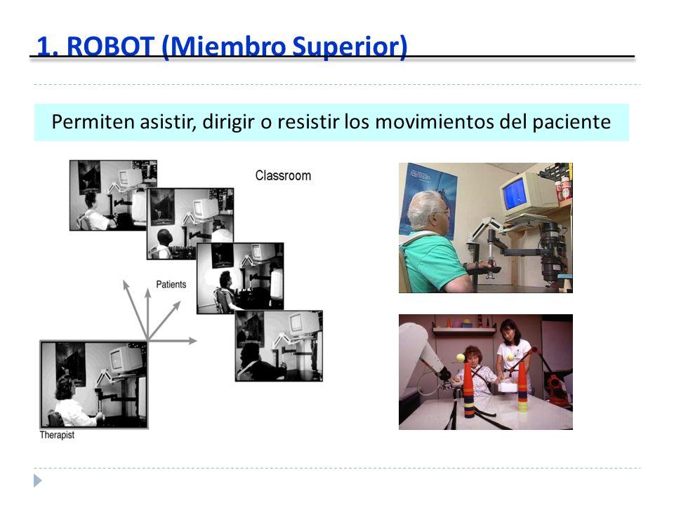 1. ROBOT (Miembro Superior) Permiten asistir, dirigir o resistir los movimientos del paciente