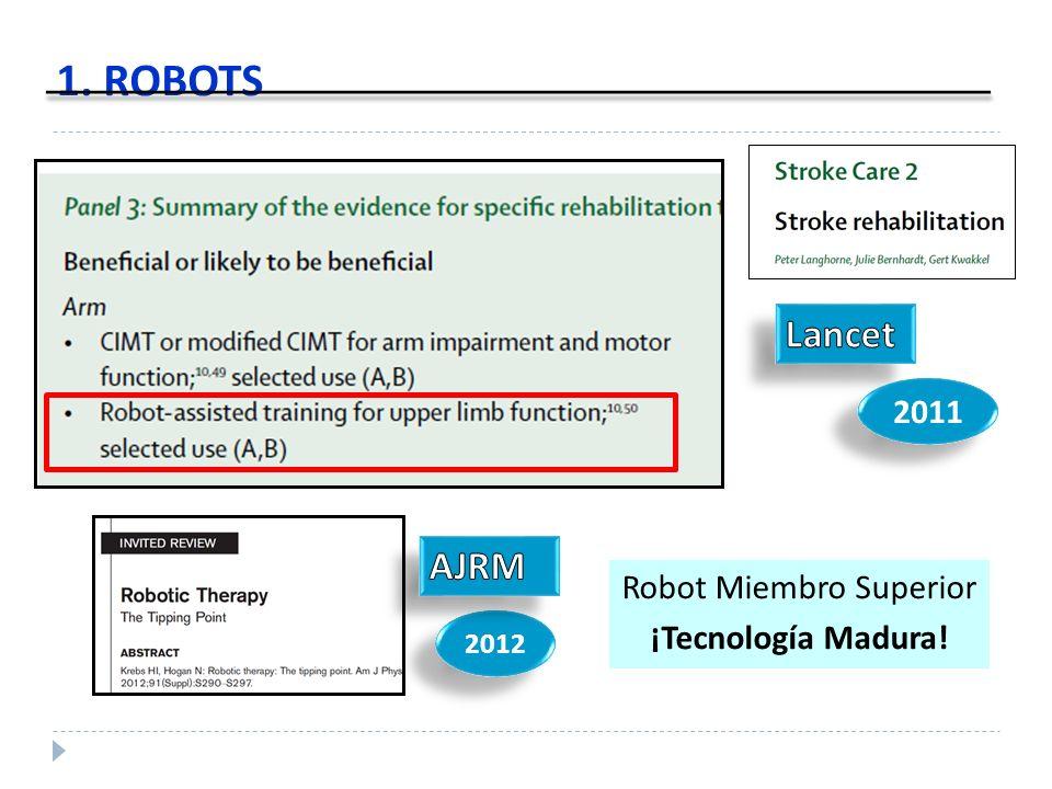 1. ROBOTS 2011 Robot Miembro Superior ¡Tecnología Madura! 2012