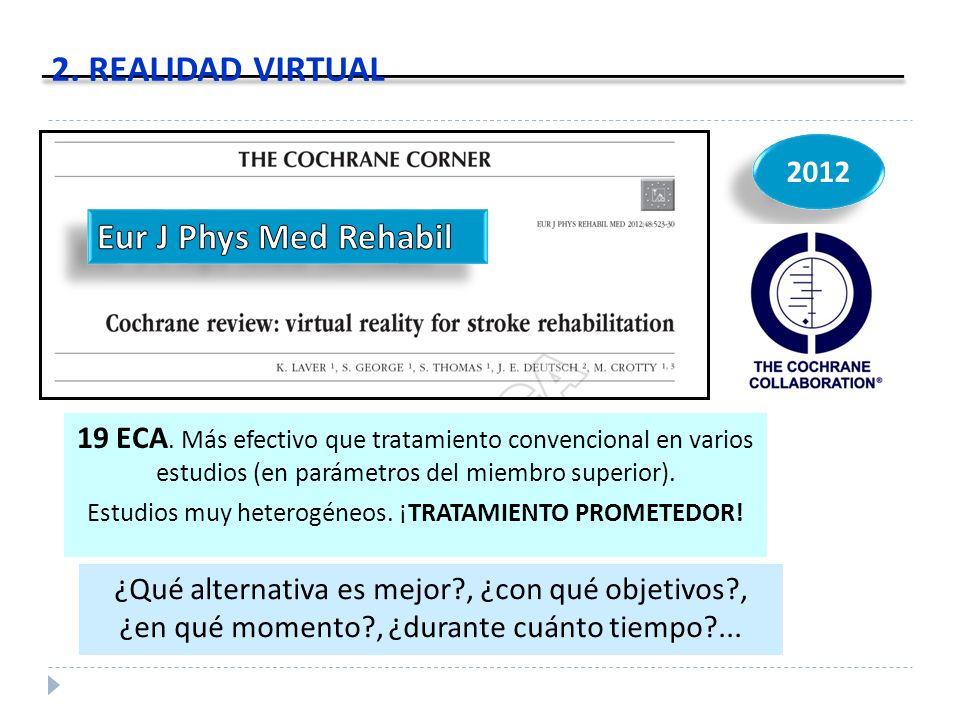 2012 2. REALIDAD VIRTUAL 19 ECA. Más efectivo que tratamiento convencional en varios estudios (en parámetros del miembro superior). Estudios muy heter
