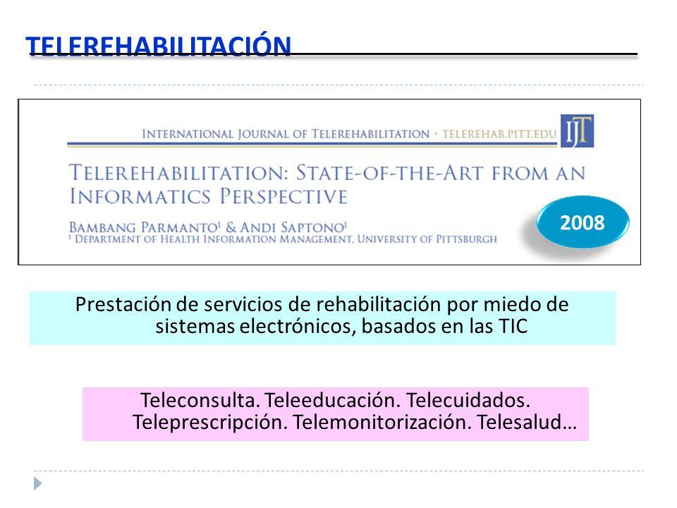 TELEREHABILITACIÓN Teleconsulta. Teleeducación. Telecuidados. Teleprescripción. Telemonitorización. Telesalud… 2008 Prestación de servicios de rehabil