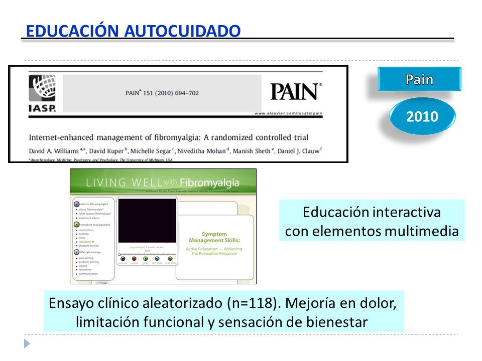 EDUCACIÓN AUTOCUIDADO 2010 Ensayo clínico aleatorizado (n=118). Mejoría en dolor, limitación funcional y sensación de bienestar Educación interactiva