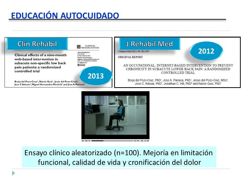 EDUCACIÓN AUTOCUIDADO 2013 Ensayo clínico aleatorizado (n=100). Mejoría en limitación funcional, calidad de vida y cronificación del dolor 2012
