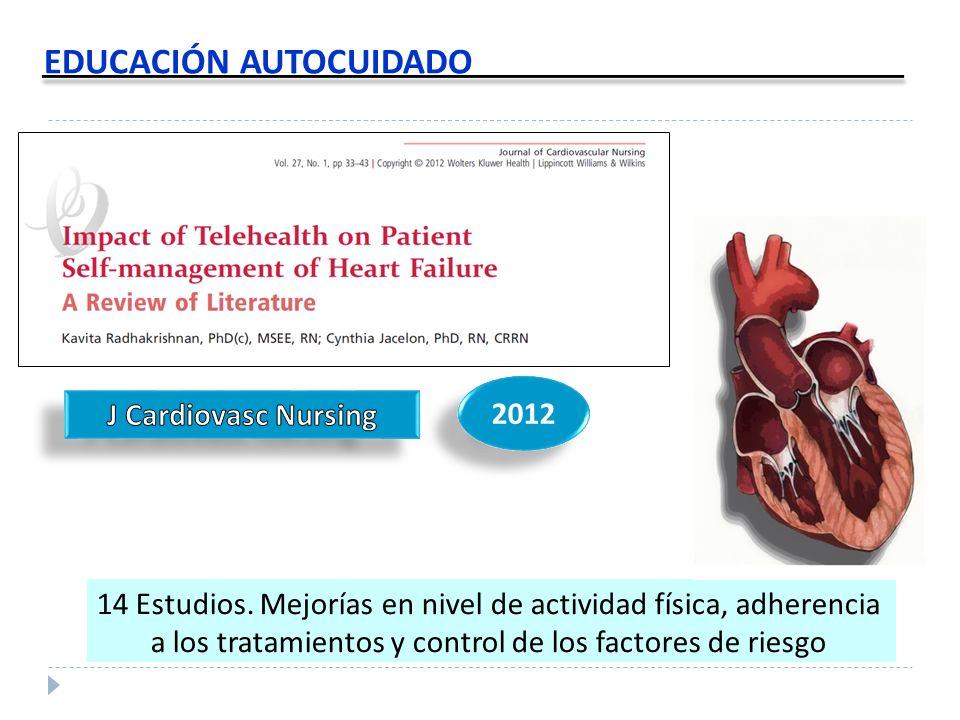 EDUCACIÓN AUTOCUIDADO 14 Estudios. Mejorías en nivel de actividad física, adherencia a los tratamientos y control de los factores de riesgo 2012