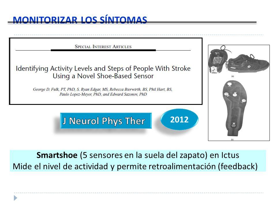 MONITORIZAR LOS SÍNTOMAS Smartshoe (5 sensores en la suela del zapato) en Ictus Mide el nivel de actividad y permite retroalimentación (feedback) 2012