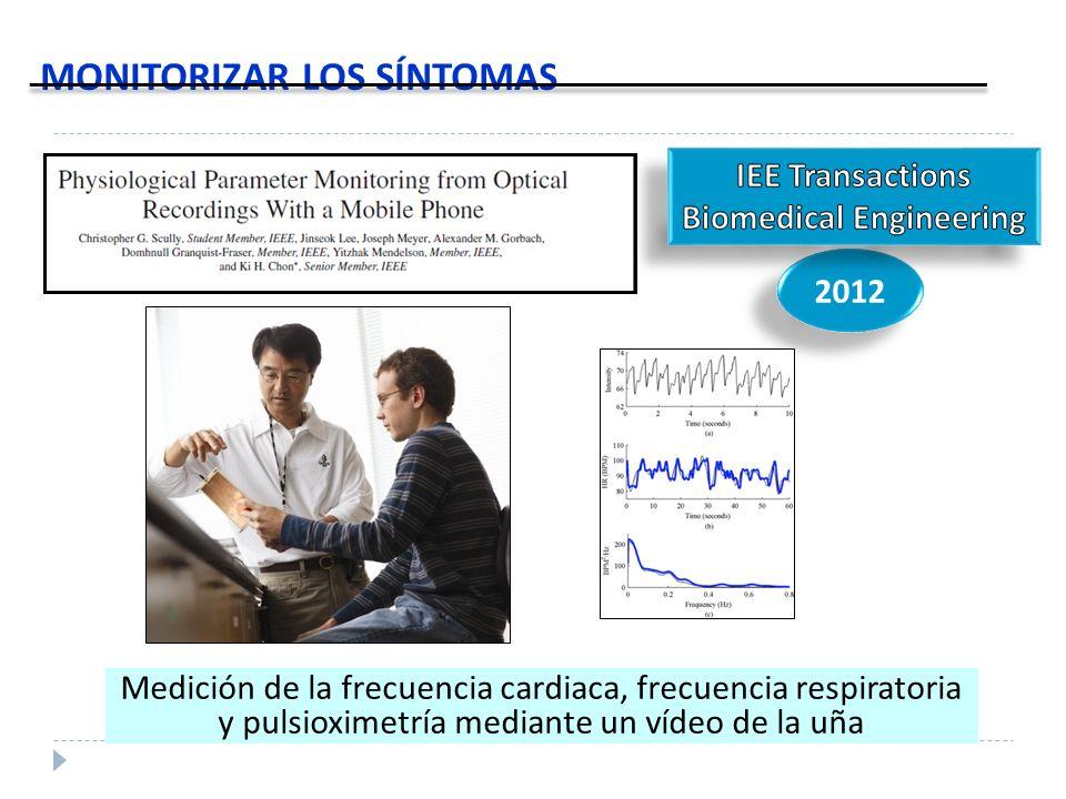 MONITORIZAR LOS SÍNTOMAS 2012 Medición de la frecuencia cardiaca, frecuencia respiratoria y pulsioximetría mediante un vídeo de la uña