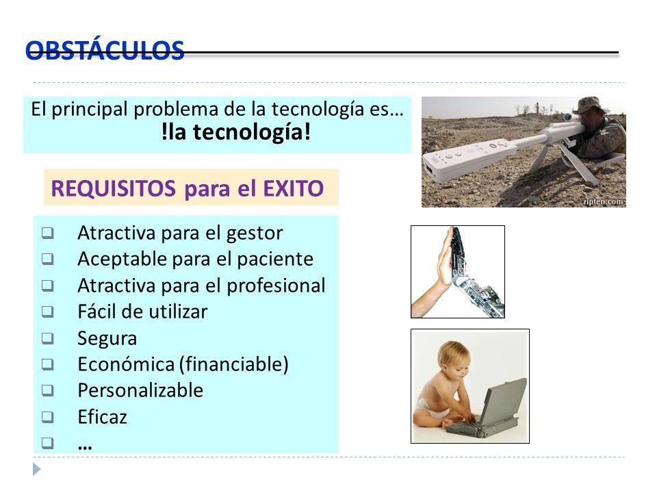 OBSTÁCULOS El principal problema de la tecnología es… !la tecnología! Atractiva para el gestor Aceptable para el paciente Atractiva para el profesiona