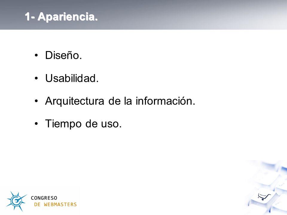 1- Apariencia. Diseño. Usabilidad. Arquitectura de la información. Tiempo de uso.
