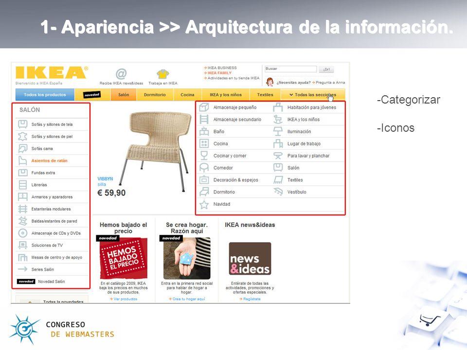 1- Apariencia >> Arquitectura de la información. -Categorizar -Iconos