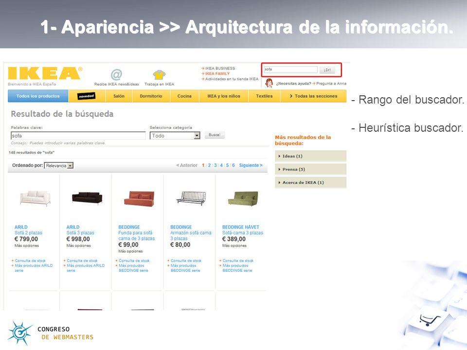 1- Apariencia >> Arquitectura de la información. - Rango del buscador. - Heurística buscador.