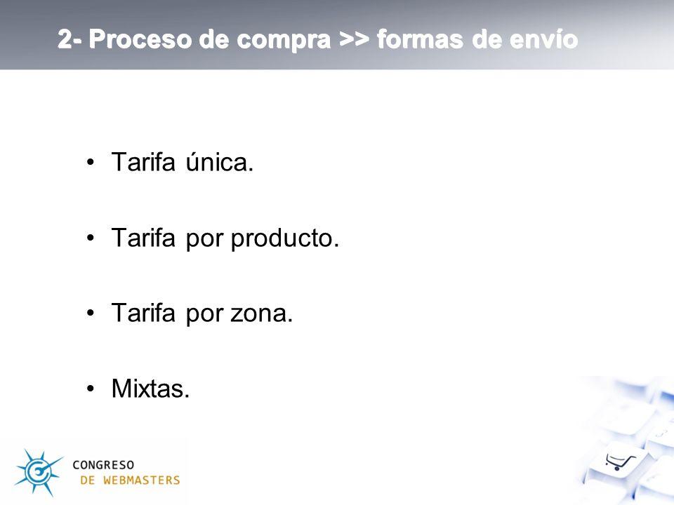 Tarifa única. Tarifa por producto. Tarifa por zona. Mixtas. 2- Proceso de compra >> formas de envío