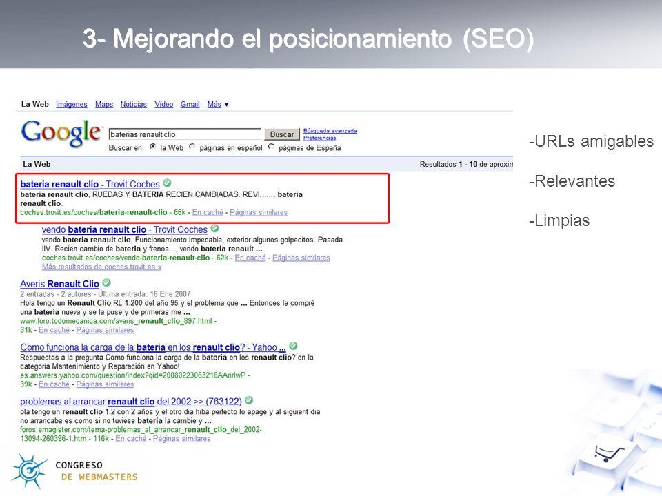 3- Mejorando el posicionamiento (SEO) -URLs amigables -Relevantes -Limpias