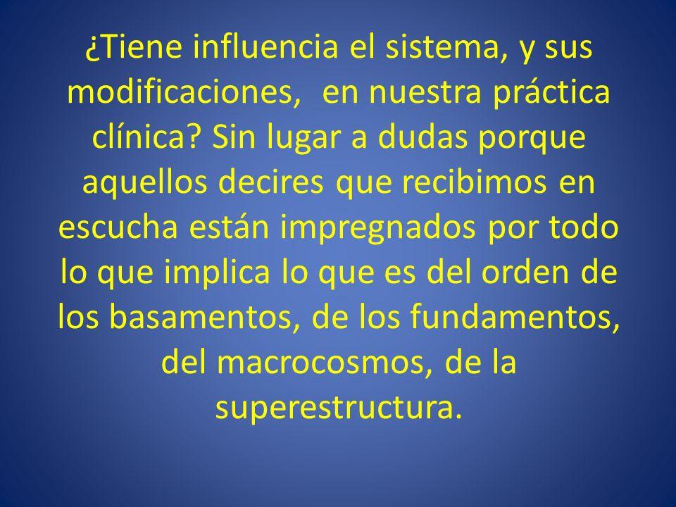 ¿Tiene influencia el sistema, y sus modificaciones, en nuestra práctica clínica.