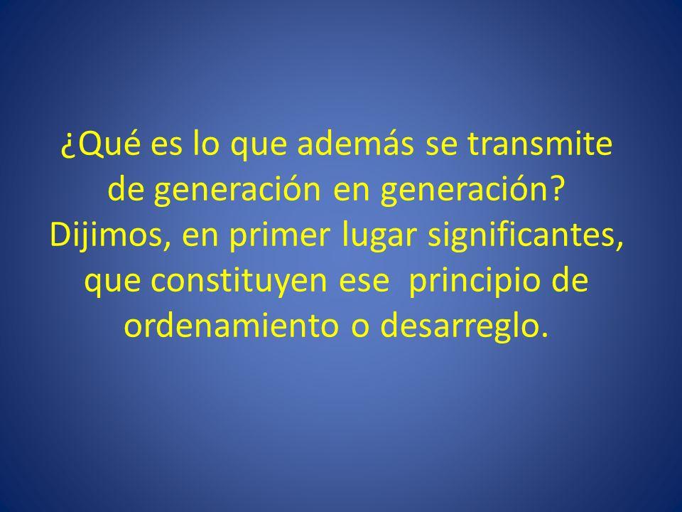 ¿Qué es lo que además se transmite de generación en generación.