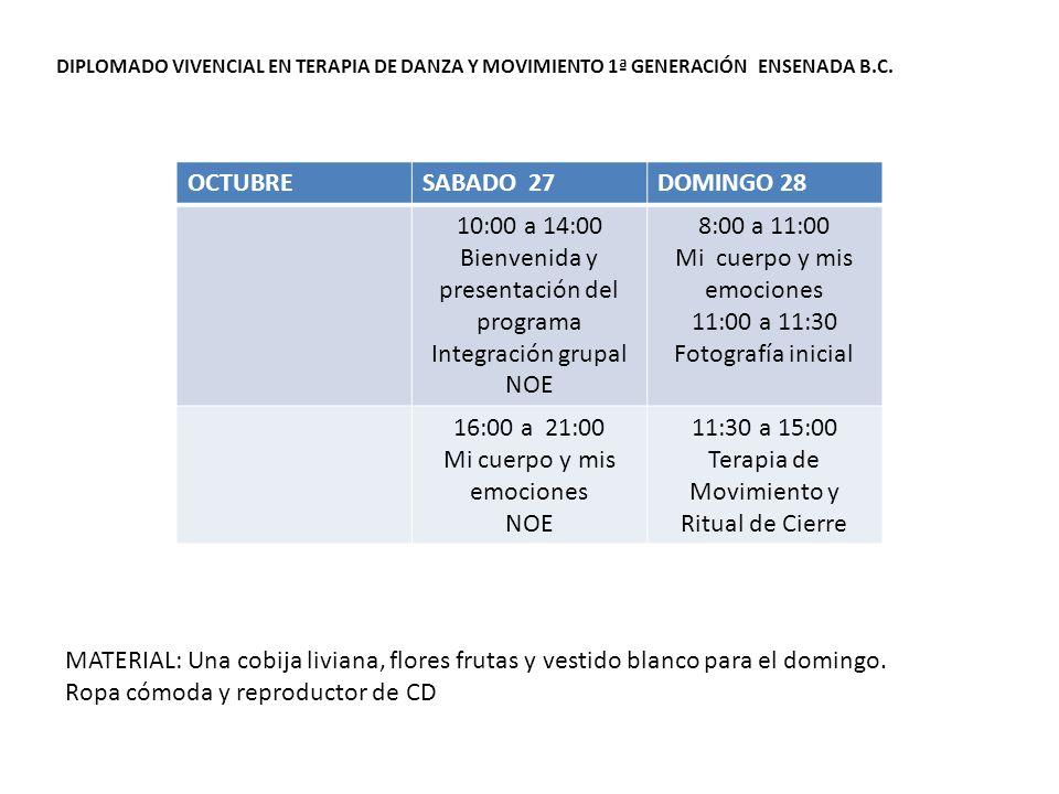 DIPLOMADO VIVENCIAL EN TERAPIA DE DANZA Y MOVIMIENTO 1ª GENERACIÓN ENSENADA B.C.