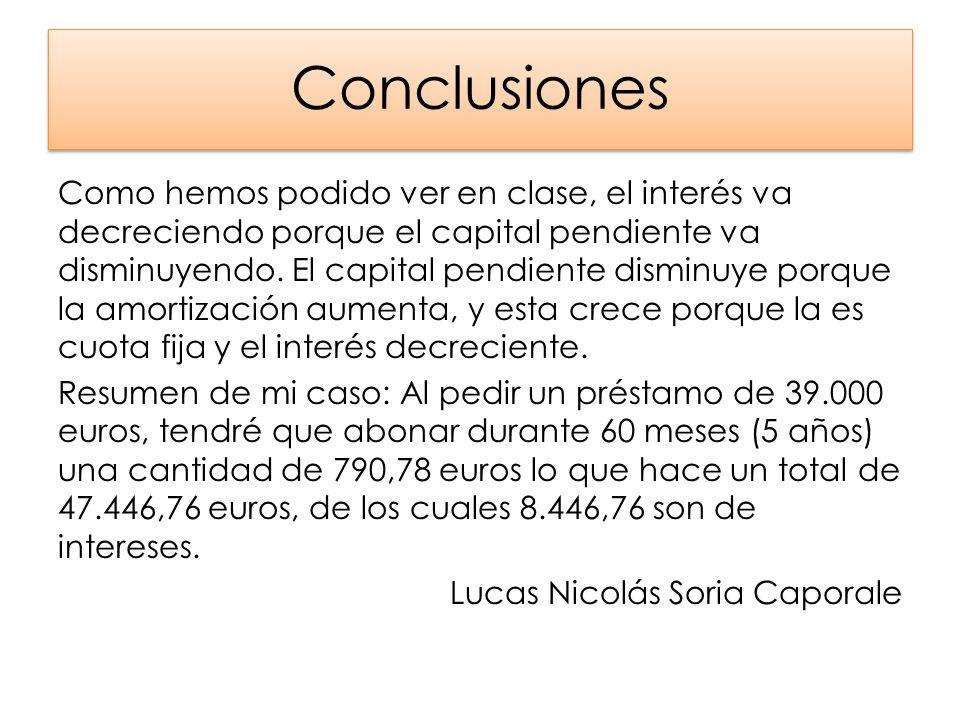 Conclusiones Como hemos podido ver en clase, el interés va decreciendo porque el capital pendiente va disminuyendo. El capital pendiente disminuye por